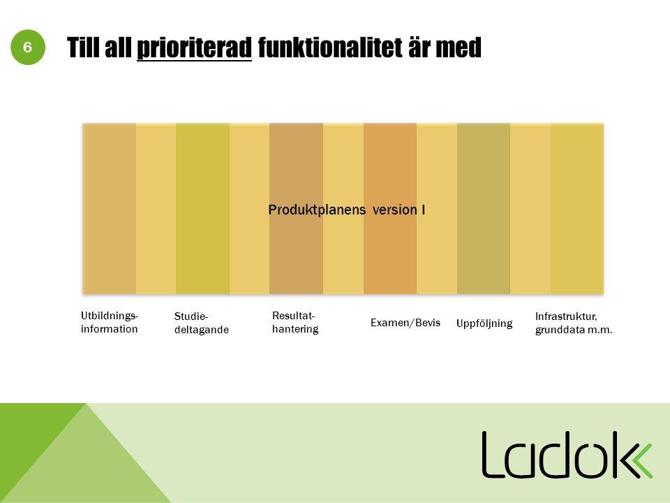 6 Till all prioriterad funktionalitet är med Utbildnings- information Studie- deltagande Resultat- hantering Examen/Bevis Uppföljning Infrastruktur, grunddata m.m.