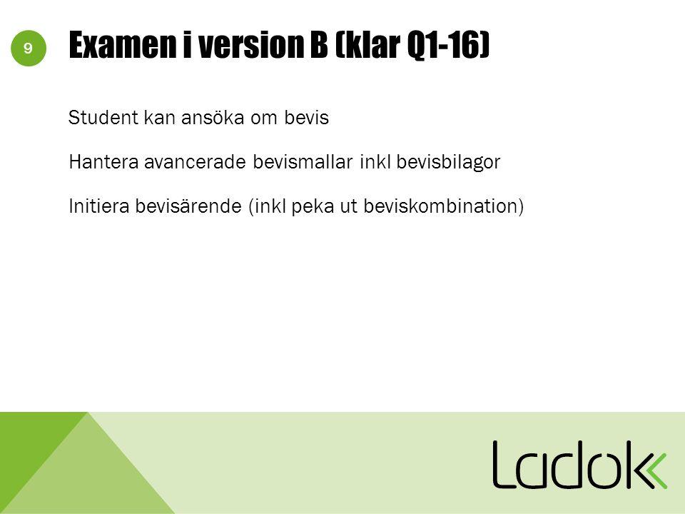 9 Examen i version B (klar Q1-16) Student kan ansöka om bevis Hantera avancerade bevismallar inkl bevisbilagor Initiera bevisärende (inkl peka ut beviskombination)