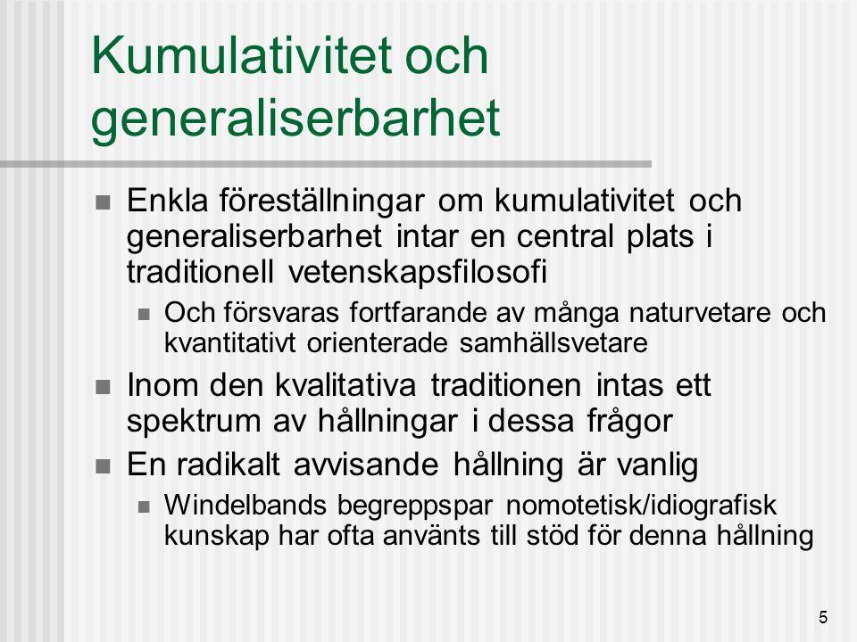 6 Kumulativitet och generaliserbarhet I Storbritannien och Sverige dominerar den kvalitativa traditionen inom utbildnings- vetenskap, och motståndet mot evidensbaserad praktik är starkt Vad gäller Sverige är det knappast någon överdrift att säga att motståndet är massivt De argument som förs fram bygger i hög grad på samma enkla dikotomi Den medicinska modellen fungerar inte inom utbildningsområdet