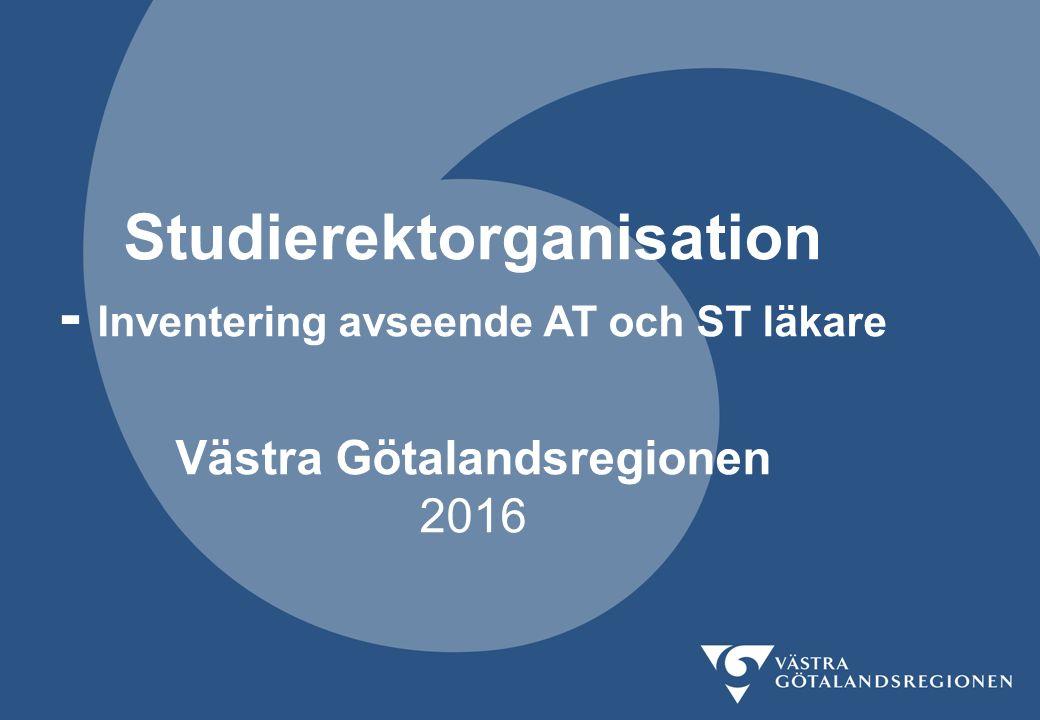 Studierektorganisation - Inventering avseende AT och ST läkare Västra Götalandsregionen 2016