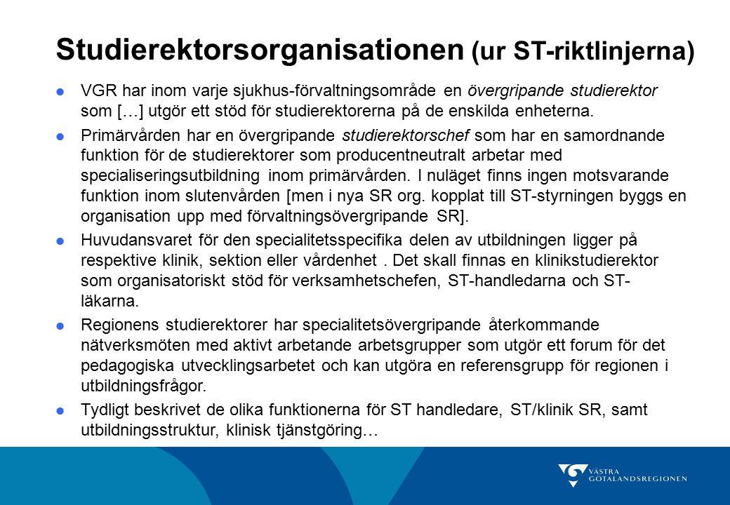 Studierektorsorganisationen (ur ST-riktlinjerna) VGR har inom varje sjukhus-förvaltningsområde en övergripande studierektor som […] utgör ett stöd för