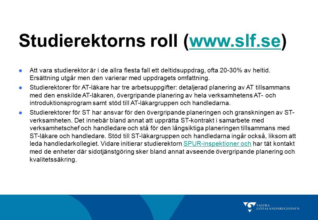 Studierektorns roll (www.slf.se)www.slf.se Att vara studierektor är i de allra flesta fall ett deltidsuppdrag, ofta 20-30% av heltid. Ersättning utgår