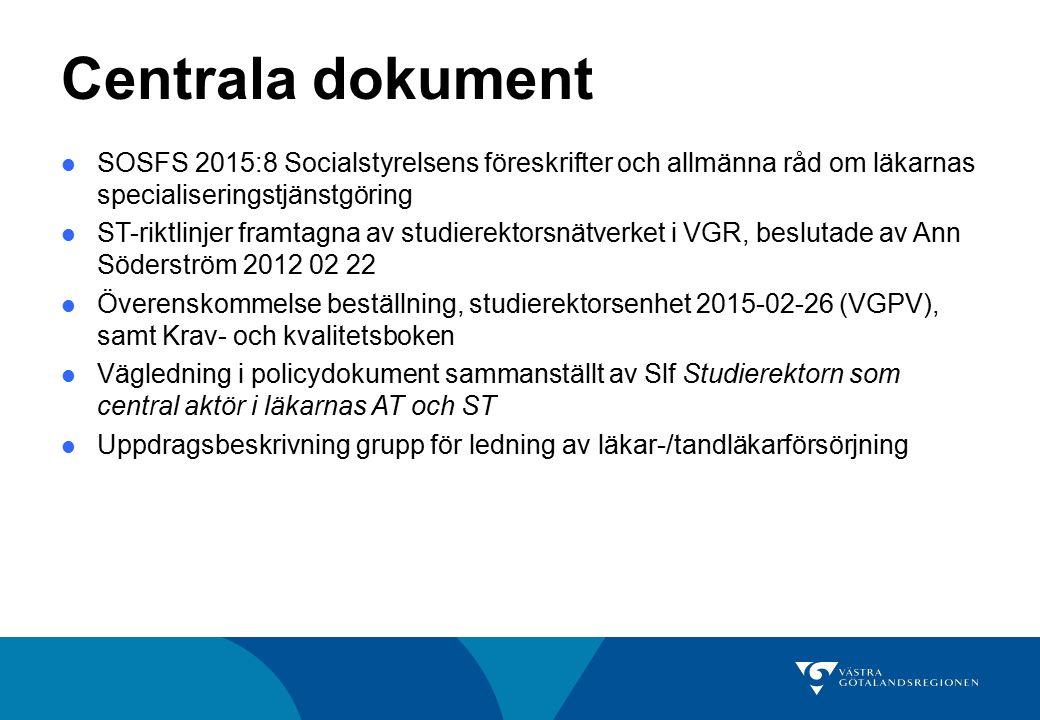 Centrala dokument SOSFS 2015:8 Socialstyrelsens föreskrifter och allmänna råd om läkarnas specialiseringstjänstgöring ST-riktlinjer framtagna av studi