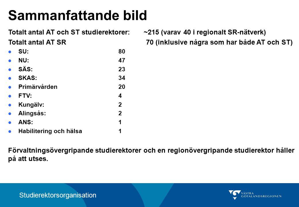 Sammanfattande bild Totalt antal AT och ST studierektorer: ~215 (varav 40 i regionalt SR-nätverk) Totalt antal AT SR 70 (inklusive några som har både