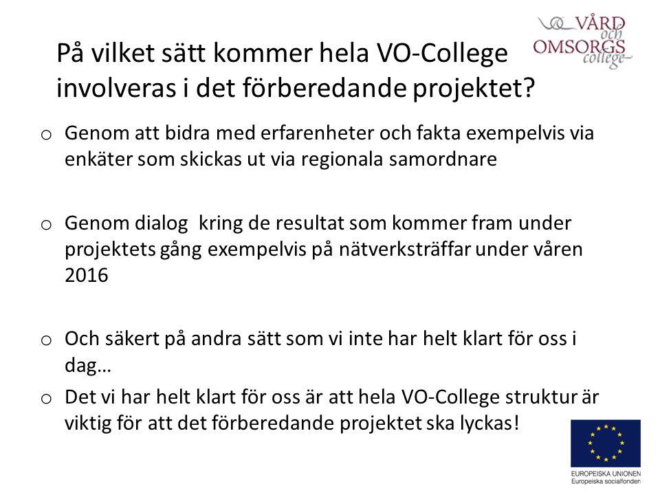 På vilket sätt kommer hela VO-College involveras i det förberedande projektet.