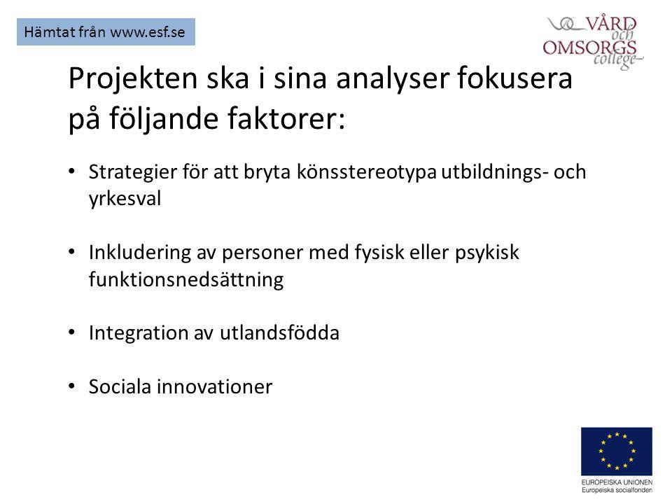 Projekten ska i sina analyser fokusera på följande faktorer: Strategier för att bryta könsstereotypa utbildnings- och yrkesval Inkludering av personer med fysisk eller psykisk funktionsnedsättning Integration av utlandsfödda Sociala innovationer Hämtat från www.esf.se