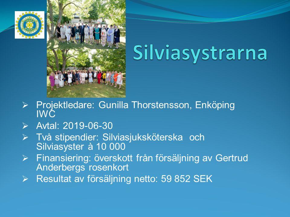  Projektledare: Gunilla Thorstensson, Enköping IWC  Avtal: 2019-06-30  Två stipendier: Silviasjuksköterska och Silviasyster à 10 000  Finansiering: överskott från försäljning av Gertrud Anderbergs rosenkort  Resultat av försäljning netto: 59 852 SEK
