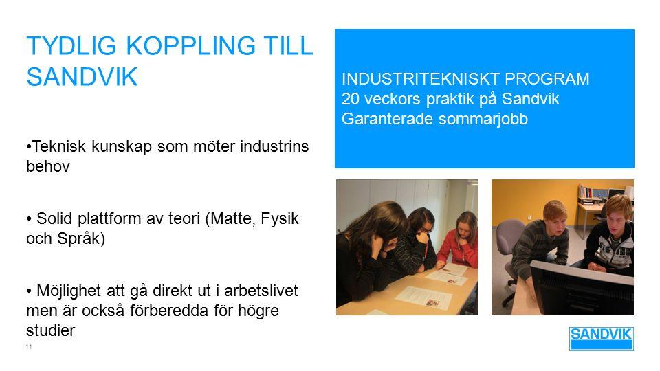 TYDLIG KOPPLING TILL SANDVIK 11 Teknisk kunskap som möter industrins behov Solid plattform av teori (Matte, Fysik och Språk) Möjlighet att gå direkt u