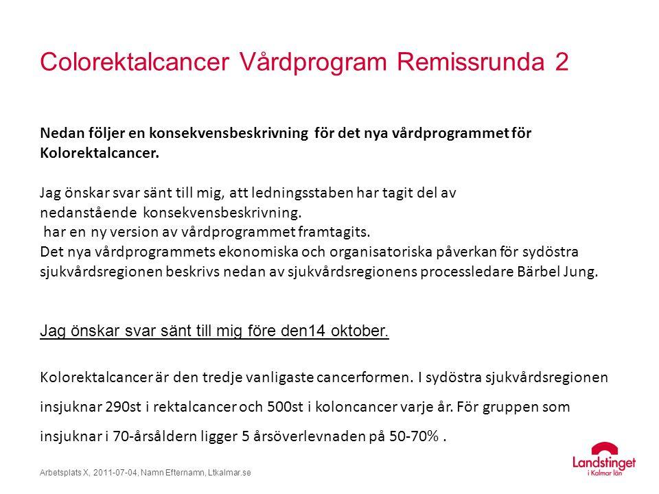 Colorektalcancer Vårdprogram Remissrunda 2 Arbetsplats X, 2011-07-04, Namn Efternamn, Ltkalmar.se Nedan följer en konsekvensbeskrivning för det nya vårdprogrammet för Kolorektalcancer.