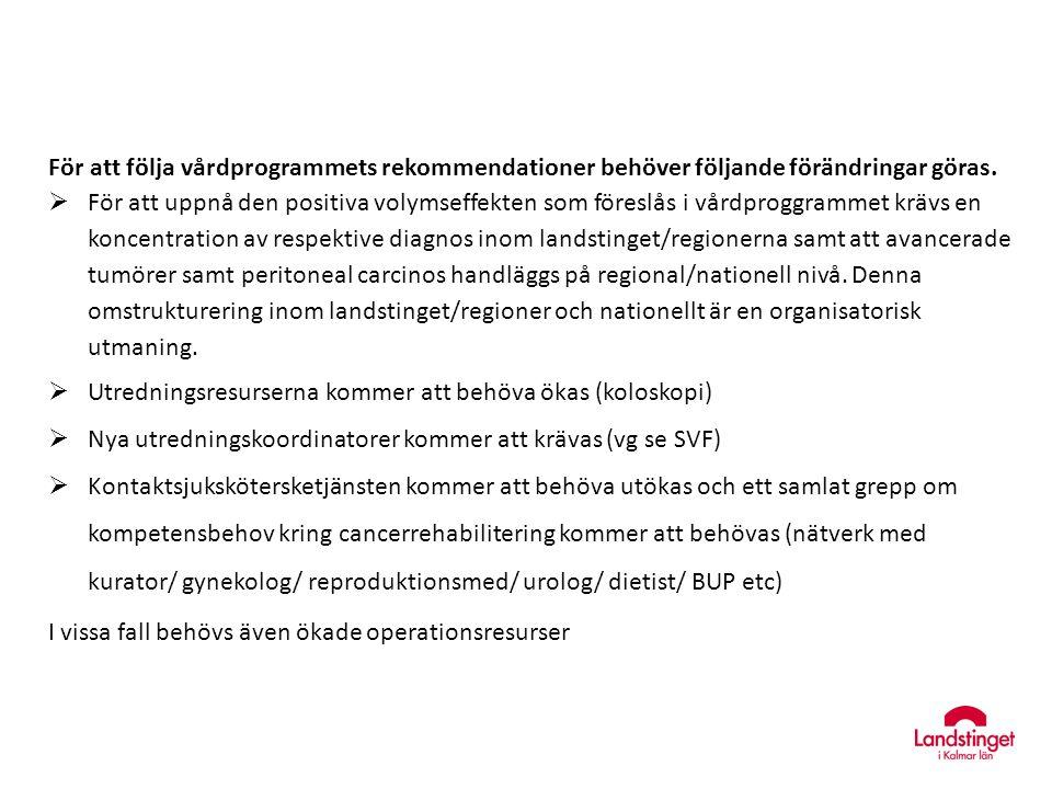 För att följa vårdprogrammets rekommendationer behöver följande förändringar göras.