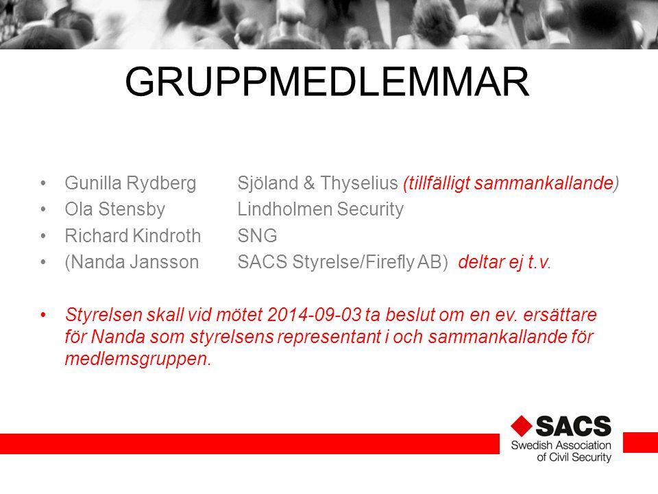 GRUPPMEDLEMMAR Gunilla RydbergSjöland & Thyselius (tillfälligt sammankallande) Ola StensbyLindholmen Security Richard KindrothSNG (Nanda Jansson SACS