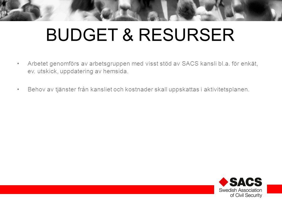 BUDGET & RESURSER Arbetet genomförs av arbetsgruppen med visst stöd av SACS kansli bl.a. för enkät, ev. utskick, uppdatering av hemsida. Behov av tjän