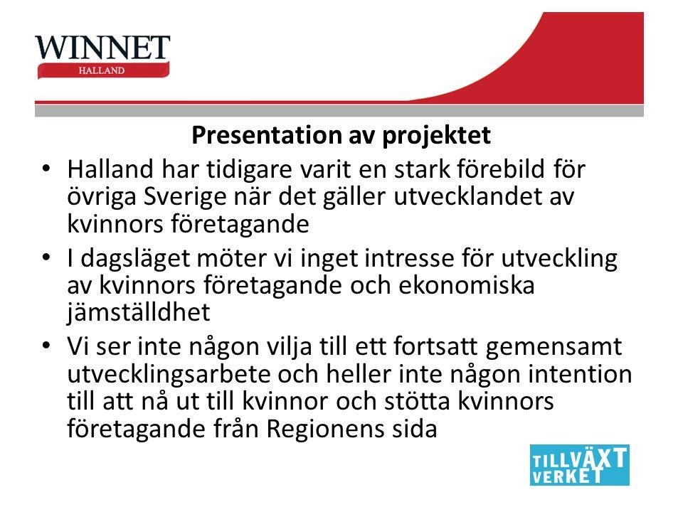 Presentation av projektet Halland har tidigare varit en stark förebild för övriga Sverige när det gäller utvecklandet av kvinnors företagande I dagslä