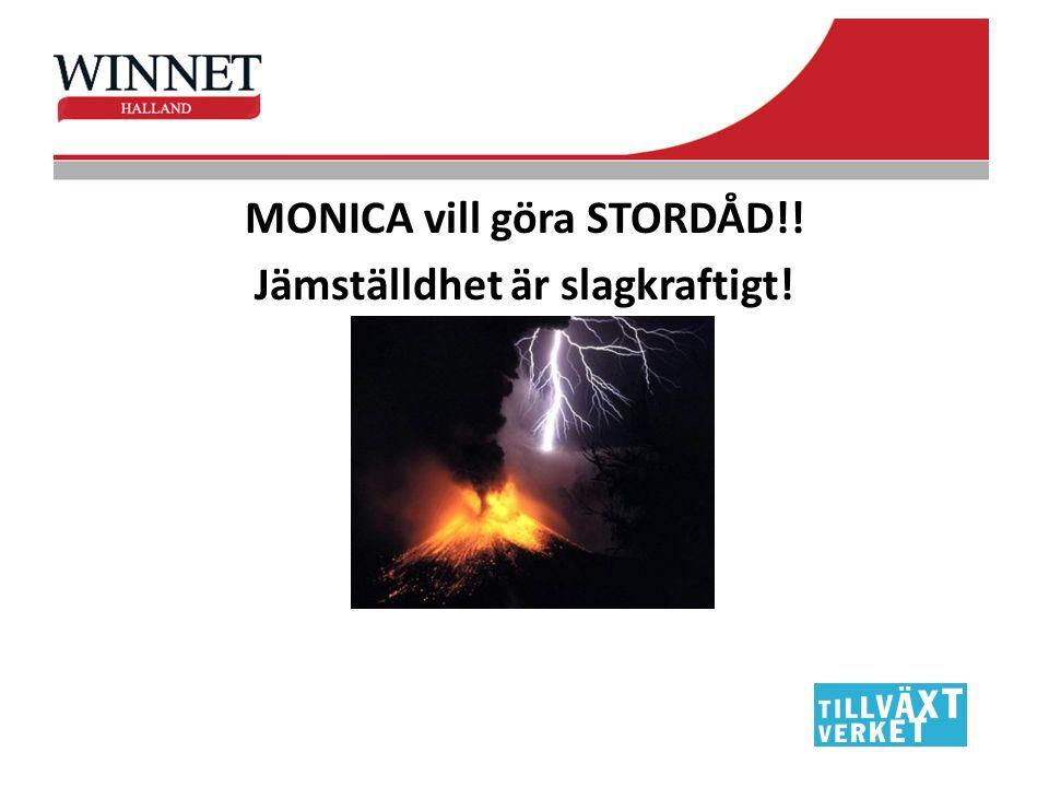MONICA vill göra STORDÅD!! Jämställdhet är slagkraftigt!