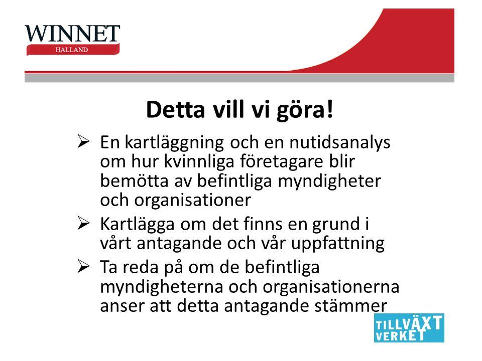 Målgrupp 1 Kvinnor som driver företag i Hallands sex kommuner, såväl medlemmar i nätverken samt icke medlemmar.