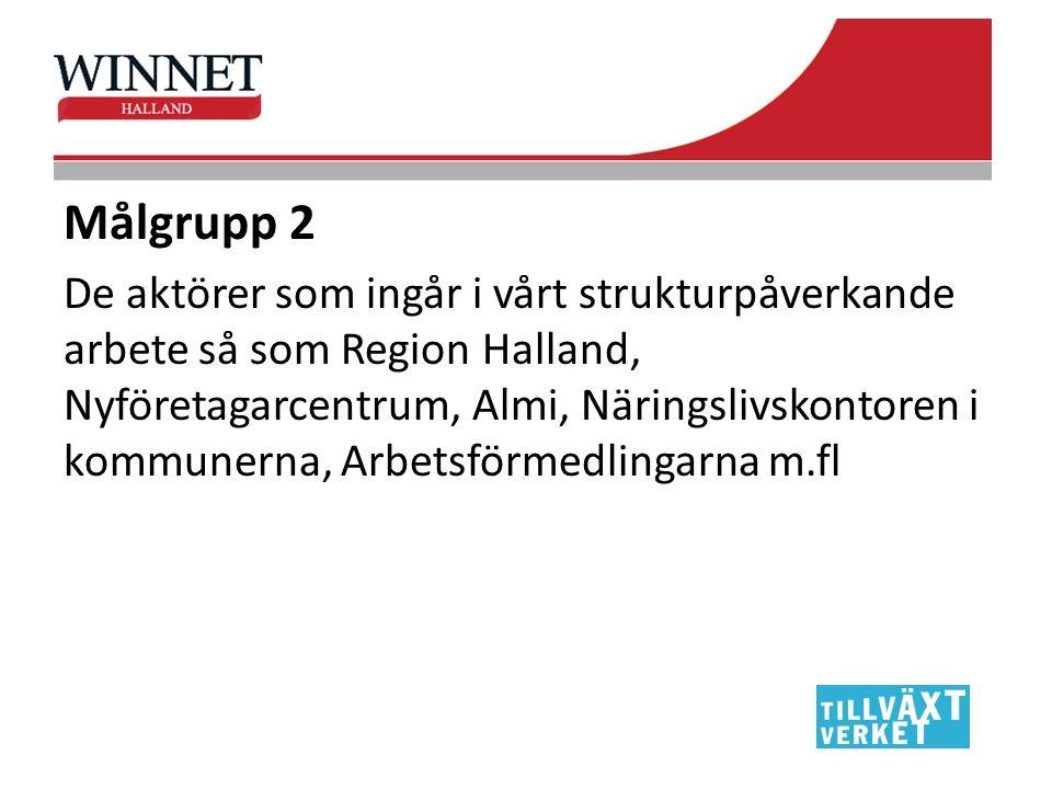 Målgrupp 2 De aktörer som ingår i vårt strukturpåverkande arbete så som Region Halland, Nyföretagarcentrum, Almi, Näringslivskontoren i kommunerna, Ar