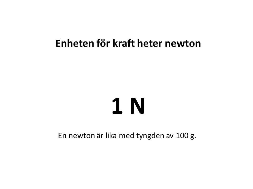 Enheten för kraft heter newton 1 N En newton är lika med tyngden av 100 g.