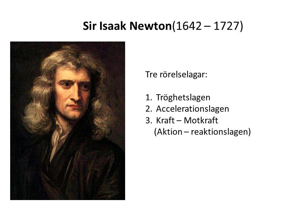 Tre rörelselagar: 1.Tröghetslagen 2.Accelerationslagen 3.Kraft – Motkraft (Aktion – reaktionslagen) Sir Isaak Newton(1642 – 1727)