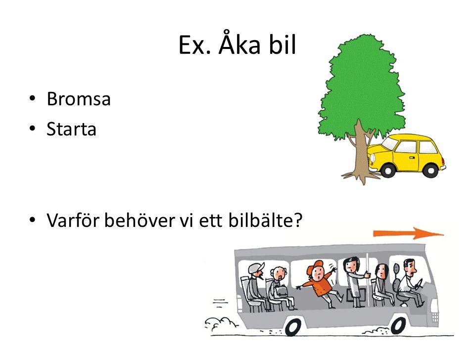 Ex. Åka bil Bromsa Starta Varför behöver vi ett bilbälte?