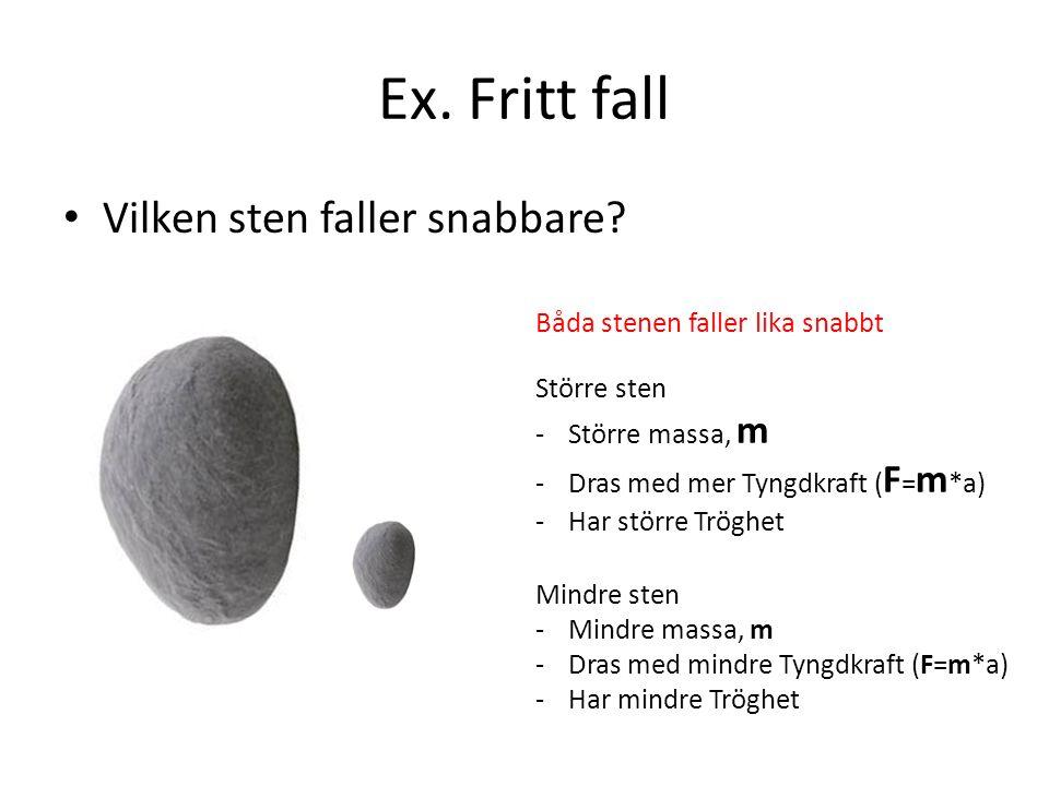 Ex. Fritt fall Vilken sten faller snabbare? Större sten -Större massa, m -Dras med mer Tyngdkraft ( F = m *a) -Har större Tröghet Mindre sten -Mindre