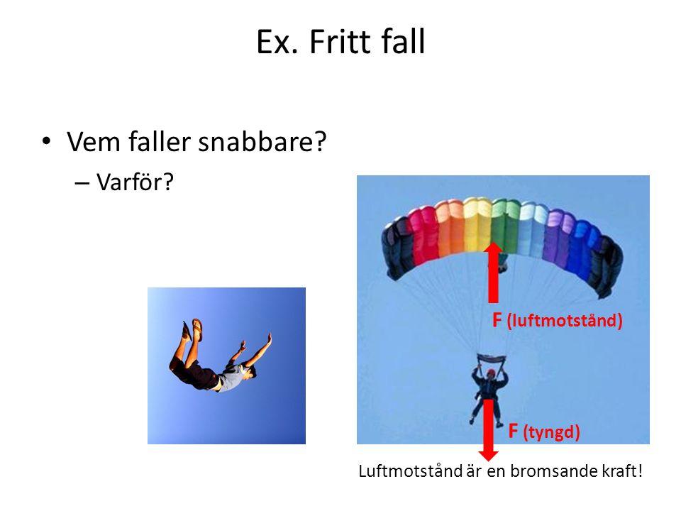 Ex. Fritt fall Vem faller snabbare? – Varför? Luftmotstånd är en bromsande kraft! F (luftmotstånd) F (tyngd)