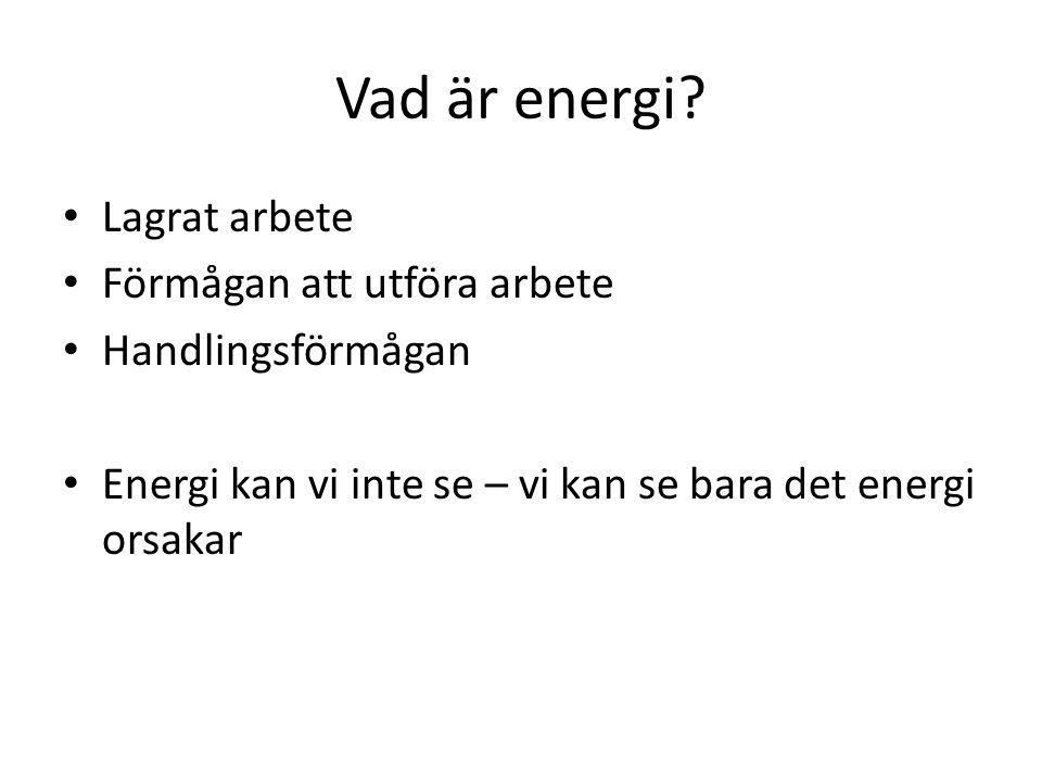 Vad är energi? Lagrat arbete Förmågan att utföra arbete Handlingsförmågan Energi kan vi inte se – vi kan se bara det energi orsakar