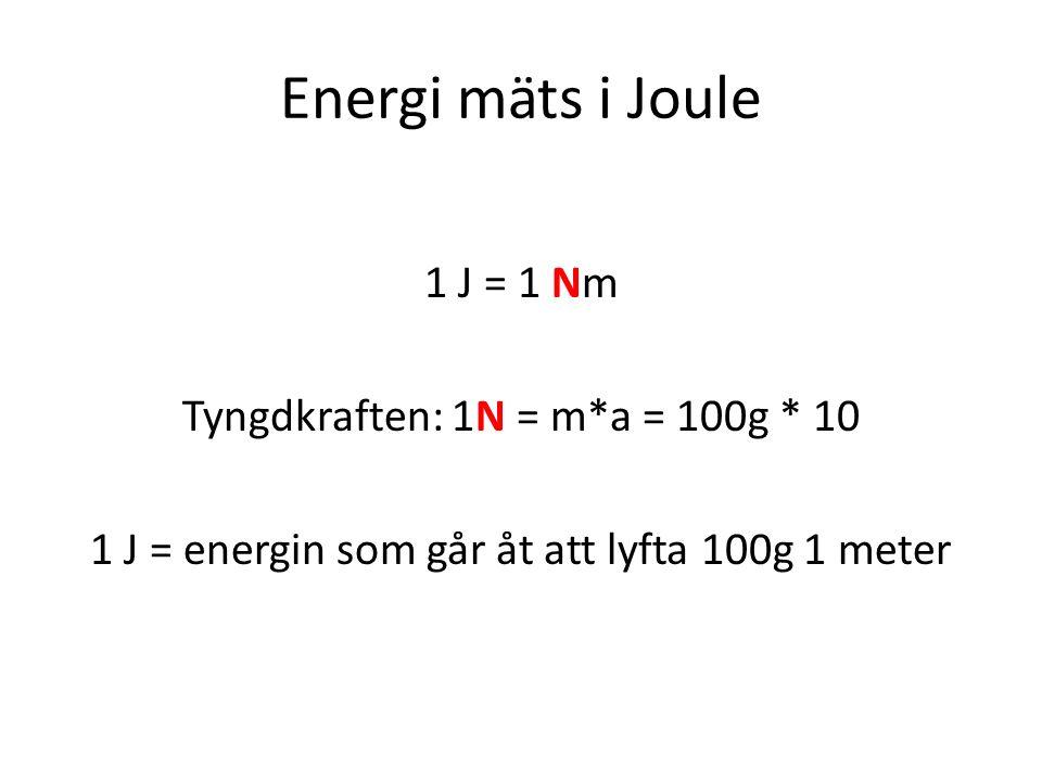 Energi mäts i Joule 1 J = 1 Nm Tyngdkraften: 1N = m*a = 100g * 10 1 J = energin som går åt att lyfta 100g 1 meter