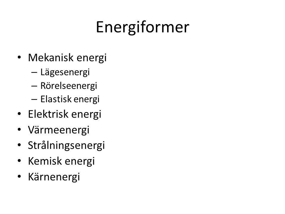 Energiformer Mekanisk energi – Lägesenergi – Rörelseenergi – Elastisk energi Elektrisk energi Värmeenergi Strålningsenergi Kemisk energi Kärnenergi