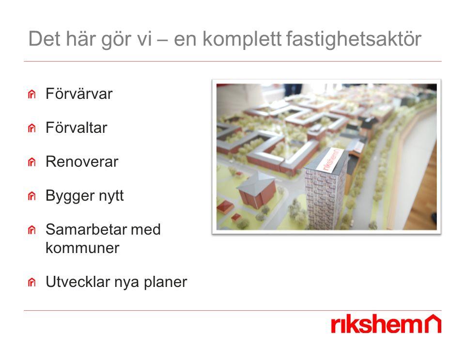 Det här gör vi – en komplett fastighetsaktör Förvärvar Förvaltar Renoverar Bygger nytt Samarbetar med kommuner Utvecklar nya planer