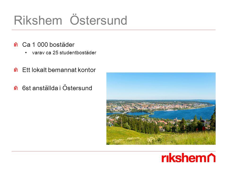 Rikshem Östersund Ca 1 000 bostäder varav ca 25 studentbostäder Ett lokalt bemannat kontor 6st anställda i Östersund
