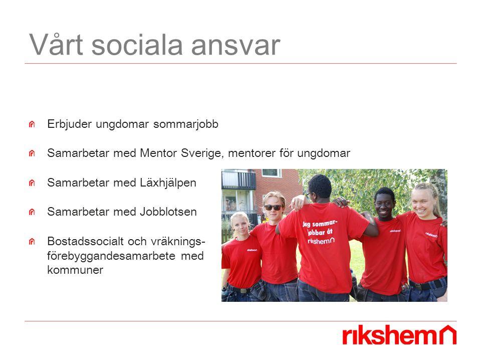 Vårt sociala ansvar Erbjuder ungdomar sommarjobb Samarbetar med Mentor Sverige, mentorer för ungdomar Samarbetar med Läxhjälpen Samarbetar med Jobblotsen Bostadssocialt och vräknings- förebyggandesamarbete med kommuner