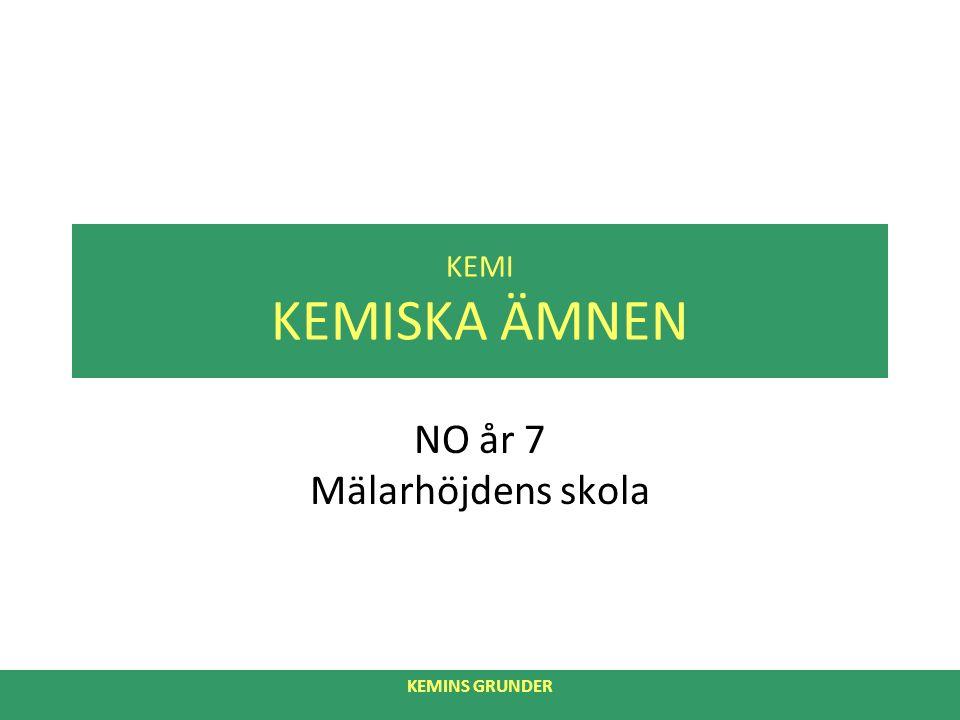 KEMINS GRUNDER KEMI KEMISKA ÄMNEN NO år 7 Mälarhöjdens skola