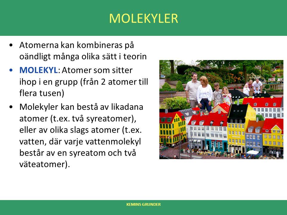 MOLEKYLER Atomerna kan kombineras på oändligt många olika sätt i teorin MOLEKYL: Atomer som sitter ihop i en grupp (från 2 atomer till flera tusen) Molekyler kan bestå av likadana atomer (t.ex.