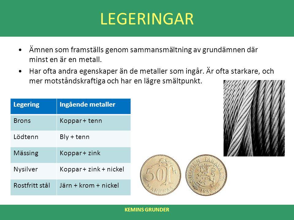 LEGERINGAR Ämnen som framställs genom sammansmältning av grundämnen där minst en är en metall.