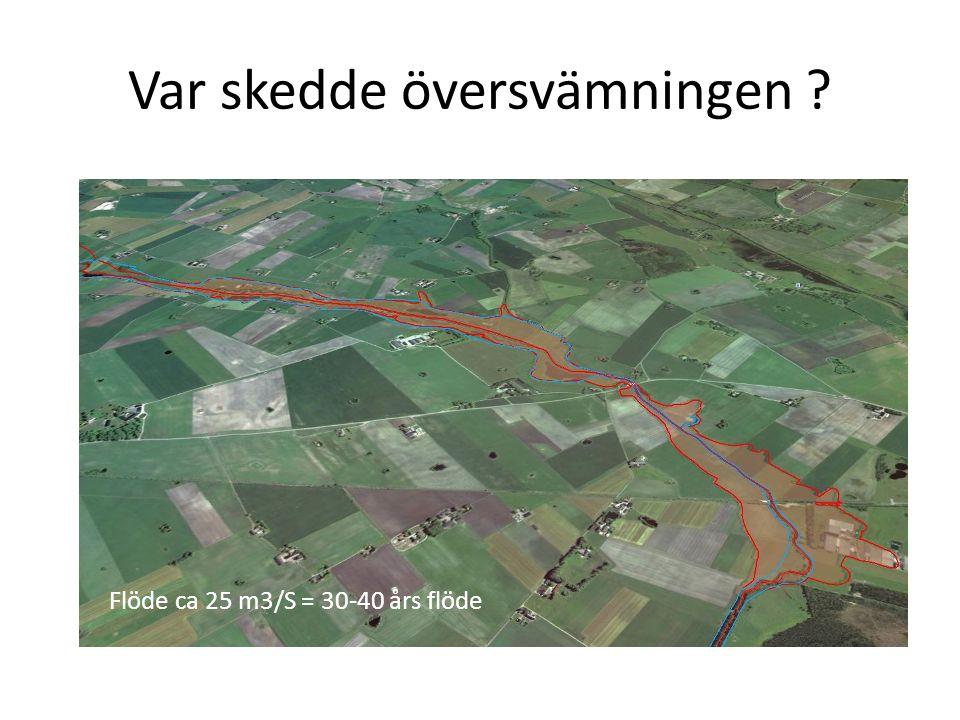 Var skedde översvämningen Flöde ca 25 m3/S = 30-40 års flöde