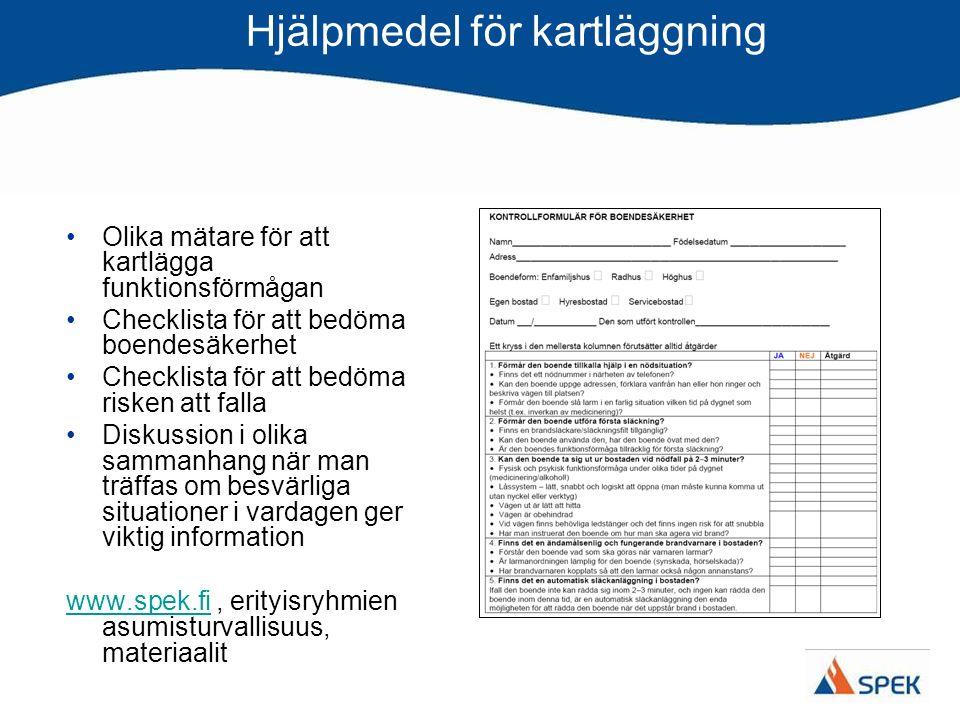 Hjälpmedel för kartläggning Olika mätare för att kartlägga funktionsförmågan Checklista för att bedöma boendesäkerhet Checklista för att bedöma risken att falla Diskussion i olika sammanhang när man träffas om besvärliga situationer i vardagen ger viktig information www.spek.fiwww.spek.fi, erityisryhmien asumisturvallisuus, materiaalit