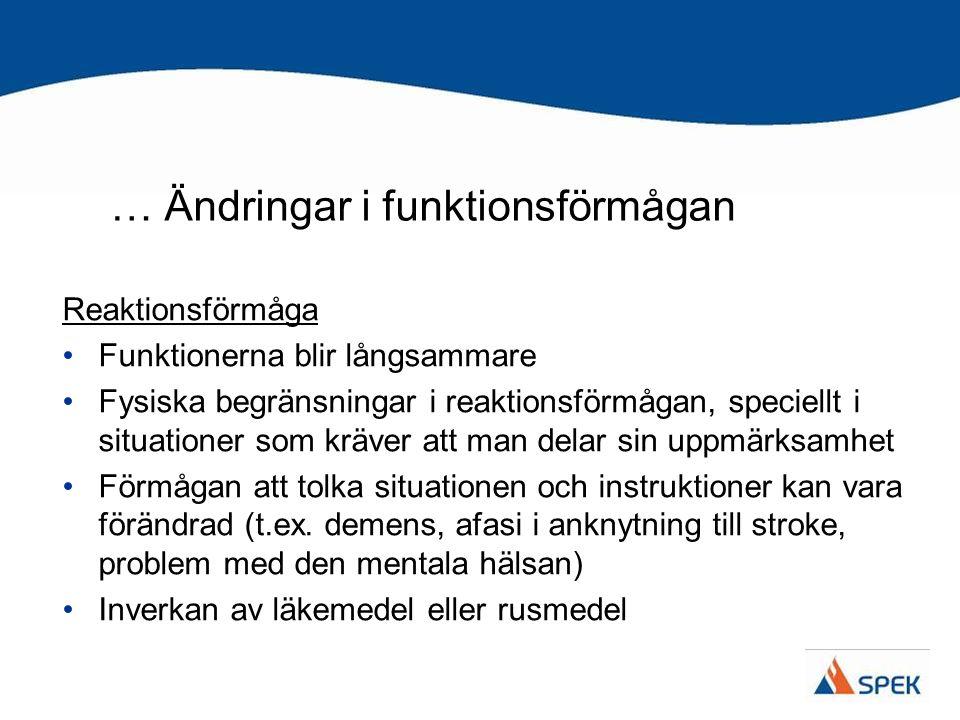 … Ändringar i funktionsförmågan Förmåga att uppfatta situationen Man förstår inte situationens art (försöker t.ex.