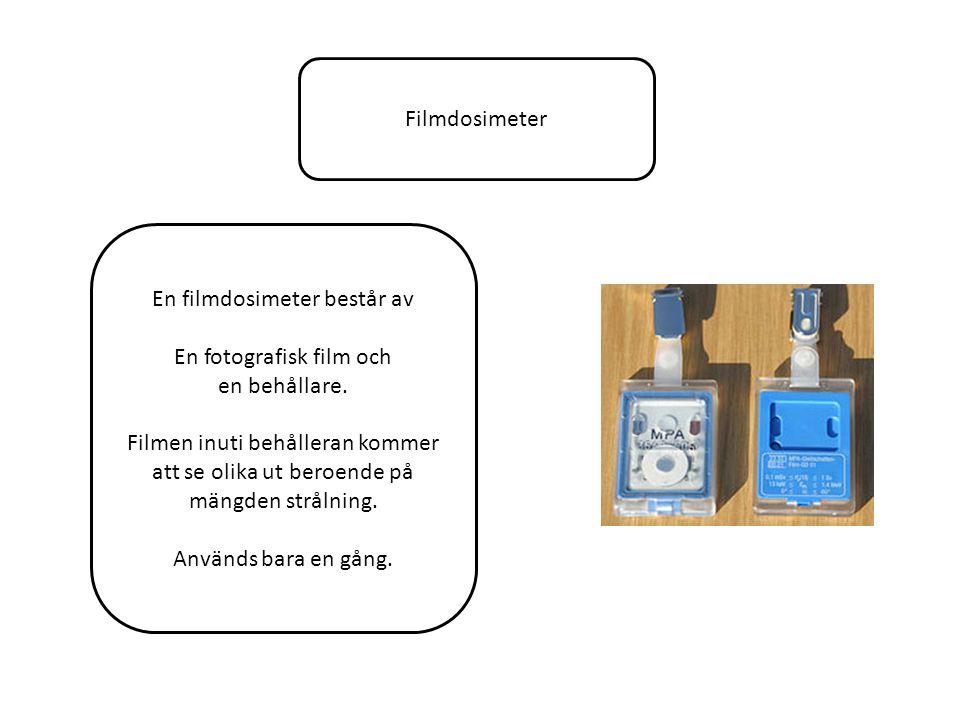 Filmdosimeter En filmdosimeter består av En fotografisk film och en behållare.