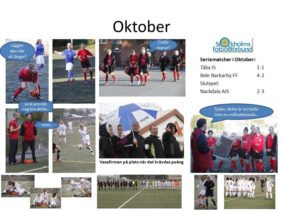 Oktober Seriematcher i Oktober: Täby IS 1-1 Bele Barkarby FF4-2 Slutspel: Nackdala AIS2-3 Vasafirman på plats när det krävdes poäng Tjejer, detta är en tavla inte en målvaktstavla..