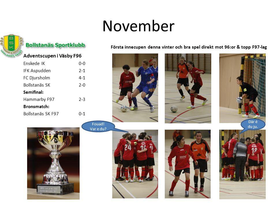 November Adventscupen i Väsby F96 Enskede IK0-0 IFK Aspudden2-1 FC Djursholm4-1 Bollstanäs SK2-0 Semifinal: Hammarby F972-3 Bronsmatch: Bollstanäs SK F970-1 Första innecupen denna vinter och bra spel direkt mot 96:or & topp F97-lag Fouad.