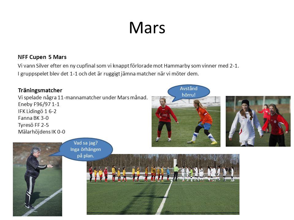 Mars NFF Cupen 5 Mars Vi vann Silver efter en ny cupfinal som vi knappt förlorade mot Hammarby som vinner med 2-1.