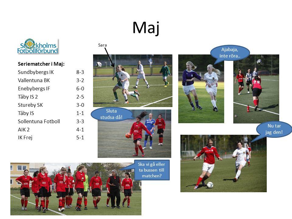 Maj Seriematcher i Maj: Sundbybergs IK8-3 Vallentuna BK3-2 Enebybergs IF6-0 Täby IS 22-5 Stureby SK3-0 Täby IS1-1 Sollentuna Fotboll3-3 AIK 24-1 IK Frej5-1 Sara Nu tar jag den.