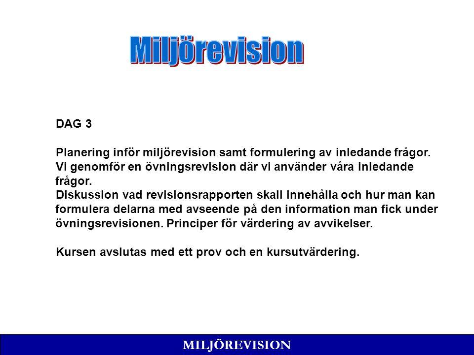 MILJÖREVISION DAG 3 Planering inför miljörevision samt formulering av inledande frågor.