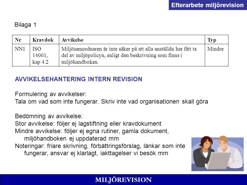 MILJÖREVISION AVVIKELSEHANTERING INTERN REVISION Formulering av avvikelser: Tala om vad som inte fungerar.