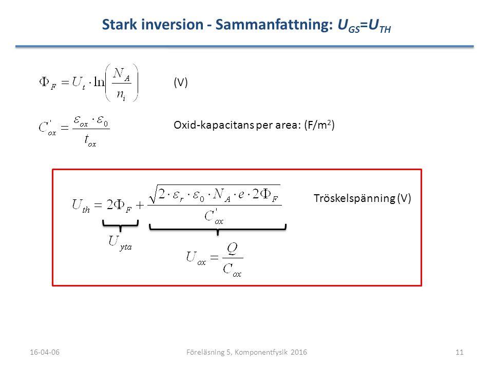 Stark inversion - Sammanfattning: U GS =U TH 16-04-0611Föreläsning 5, Komponentfysik 2016 Oxid-kapacitans per area: (F/m 2 ) (V) Tröskelspänning (V)