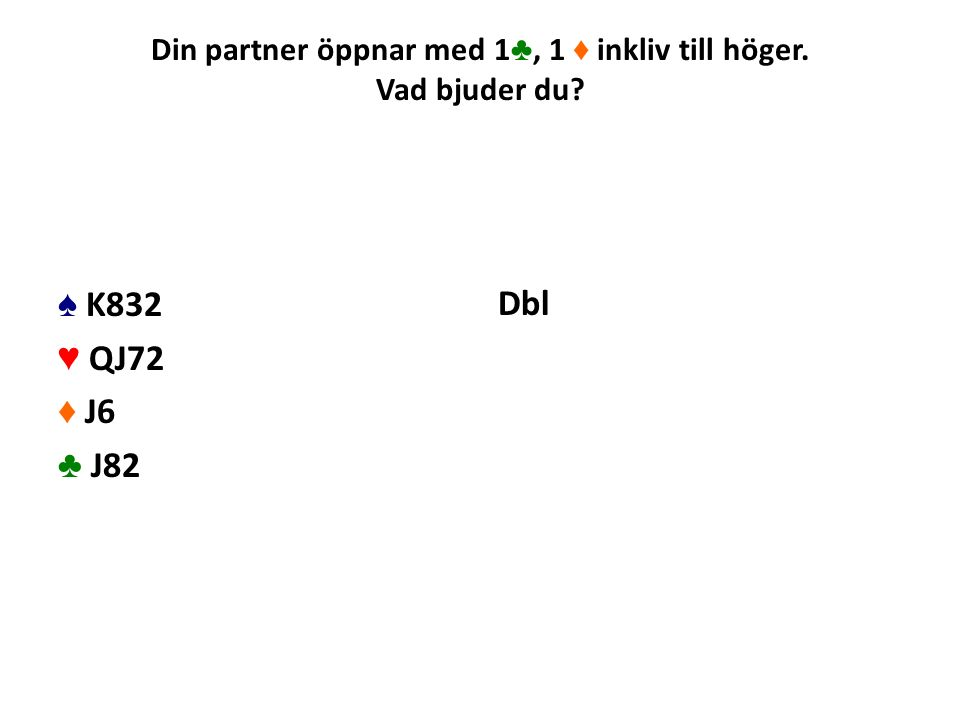Din partner öppnar med 1 ♣, 1 ♦ inkliv till höger. Vad bjuder du? ♠ K832 ♥ QJ72 ♦ J6 ♣ J82 Dbl