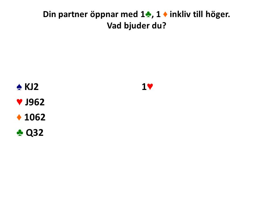 Din partner öppnar med 1 ♣, 1 ♦ inkliv till höger. Vad bjuder du? ♠ KJ2 ♥ J962 ♦ 1062 ♣ Q32 1♥1♥