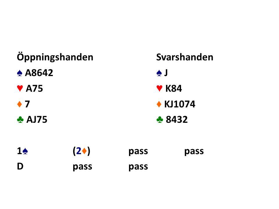 ÖppningshandenSvarshanden ♠ A8642 ♠ J ♥ A75 ♥ K84 ♦ 7 ♦ KJ1074 ♣ AJ75 ♣ 8432 1 ♠ (2 ♦ )passpass Dpasspass
