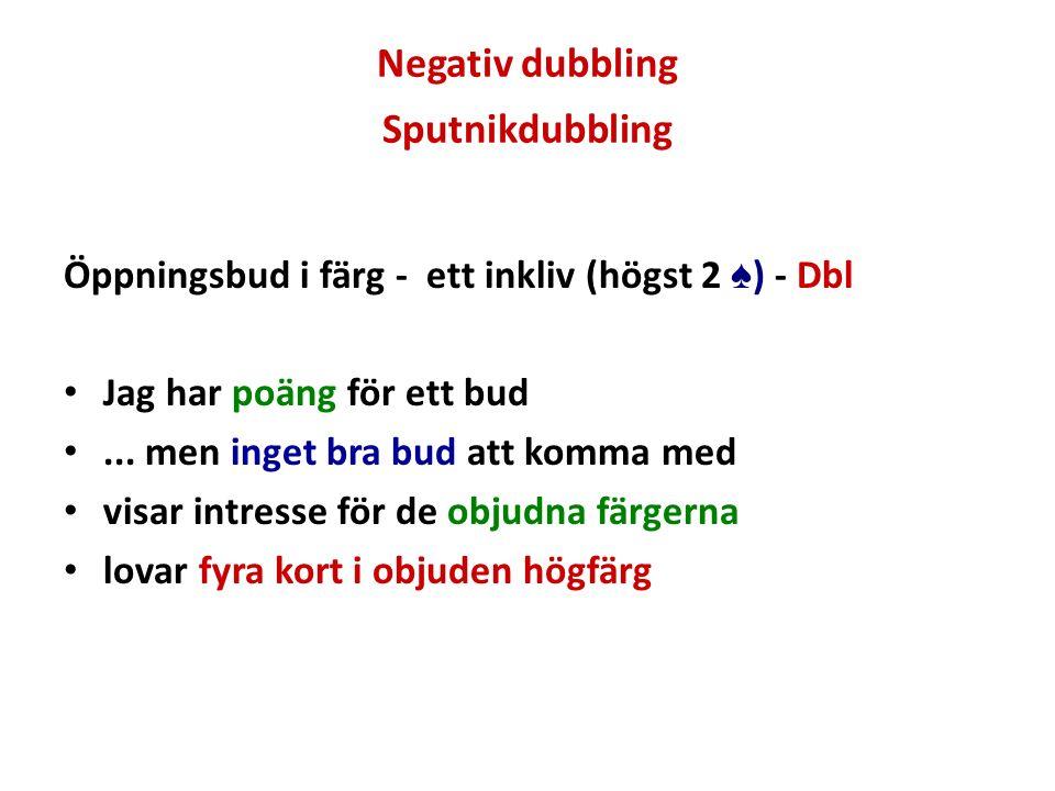 Negativ dubbling Sputnikdubbling Öppningsbud i färg - ett inkliv (högst 2 ♠ ) - Dbl Jag har poäng för ett bud... men inget bra bud att komma med visar