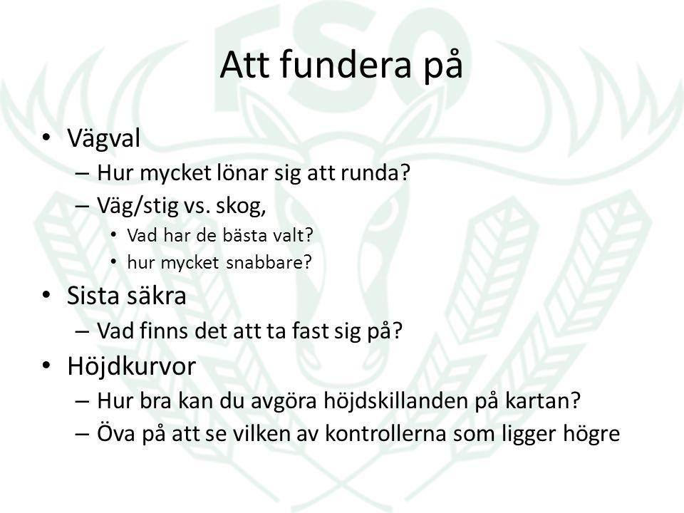 Att fundera på Vägval – Hur mycket lönar sig att runda? – Väg/stig vs. skog, Vad har de bästa valt? hur mycket snabbare? Sista säkra – Vad finns det a
